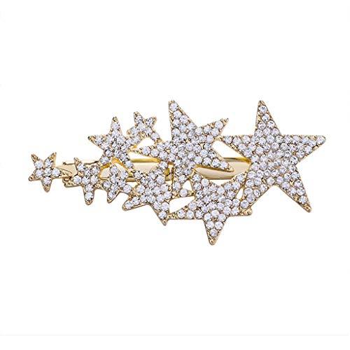 Youlin Haarspange, Stern mit Fünf Spitzen, Exquisite Bohrmaschine mit Haarnadel, Schmuck für Damen und Mädchen A