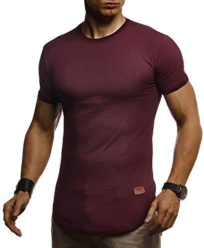 LEIF NELSON Herren Sommer T-Shirt Rundhals Ausschnitt Slim Fit Baumwolle-Anteil | Cooles Basic Männer T-Shirt Crew Neck | Jungen Kurzarmshirt O-Neck Kurzarm Lang | LN8294 Bordeaux Large - Jeans-jungen-shirt