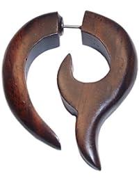 Chic-Net Faux Piercing tribal griffe de bois de Sono Fishtail pic brun en acier inoxydable 1 mm Boucles d'oreilles 2-7 x 3-5 cm