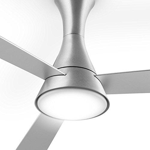 Klarstein Steeletto Deckenkenventilator Ventilator mit Licht für die Decke (134cm Rotor, mit Fernbedienung, leise 55W, 3 Rotorblätter in Aluminium-Optik, Lampe mit Milchglas, 3 Geschwindigkeiten, inkl. Decken-Halterung) silber -