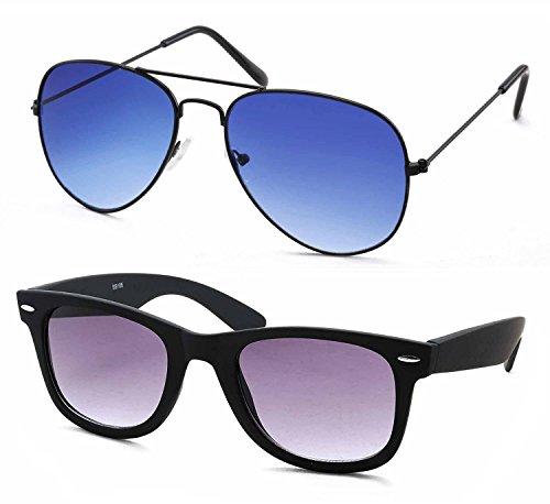 Stacle Premium Flash Mirrored Aviator Sunglasses for Men and Women (Single, Combo Pack of 2 and 3) (ST5203) (Premium Combo of 2 (Black Wayfarer + Black/Blue Aviator))