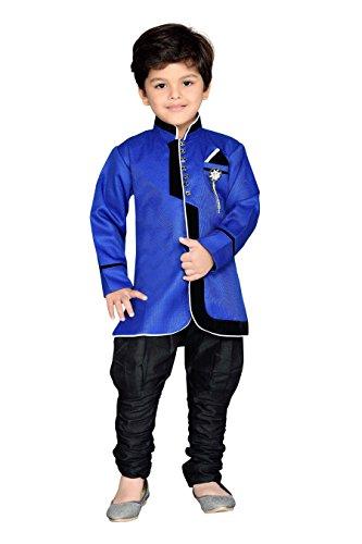 AJ Dezines Boys Indo Western Sherwani Suit (644_BLUE_6_Blue_6-7 Years)