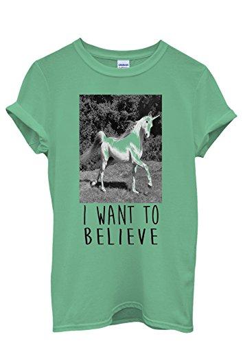 I Want To Believe Unicorn Crazy Men Women Damen Herren Unisex Top T Shirt Grün