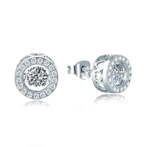 yl Dancing Diamant Argent 4mm 0,49CT Coupe ronde Oxyde de Zirconium Boucles d'oreille à tige