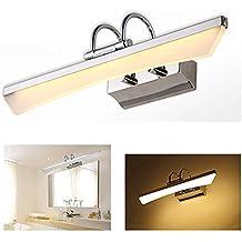 VINGO® LED Spiegelleuchte zum Schminken Badezimmer Wassernebel Wandleuchte Kosmetikspiegel Lampen Beleuchtung LED Spiegellampe Simuliert Tageslicht Aluminum (5W Warmweiß)