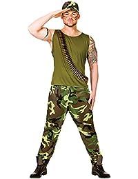 Mens Green Vietnam Combat Army Guy Fancy Dress Costume