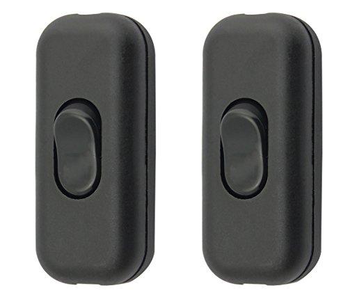 Zwischenschalter / [2 Pack] SFTlite Schwarzer Inline Schalter Verwenden Sie Inline 2 oder 3 Core Schnur zwischenschalter, Leuchtenschalter Light / Lampe Schalter