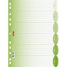 Brunnen Colour Code File Index File Page Dividers Polypropylene Semi-Circular, Green, 225 x A4 297 MM