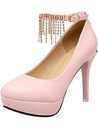 YE Damen Riemchen High Heels Pumps Plateau mit Schnalle 12cm Absatz Elegant  Party Schuhe Größe fa10281fa8