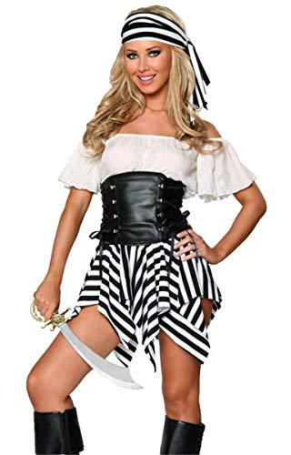 Sexy Für Kostüm Piraten Erwachsene Lady - Emin Erwachsener Piraten Kostüm Damen Sexy Gothic Kleid Piraten Kostüm mit Kleid Kopftuch Lady Kostüm Kleid mit Gürtel Fluch der Karibik Jack Halloween Cosplay Karnavel Faschingkostüm Verkleidung