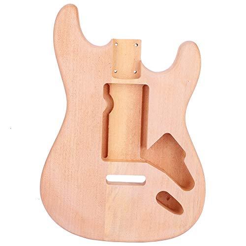 Dilwe Cuerpo de Guitarra de Madera, Caoba Sólida Cuerpo Inacabado Decoración de Bricolaje para Guitarra Eléctrica ST Parte de Repuesto