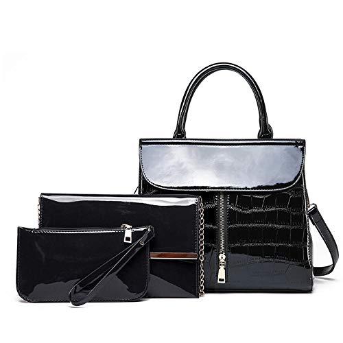 YZJLQML Lady bagsSimple Lacklederhandtasche helles Gesicht Mutter Tasche Umhängetasche Lady Bag @Black
