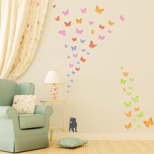 Decowall DW-1305 2 Kätzchen mit Schmetterlinge Tiere Wandtattoo Wandsticker Wandaufkleber Wanddeko für Wohnzimmer Schlafzimmer Kinderzimmer