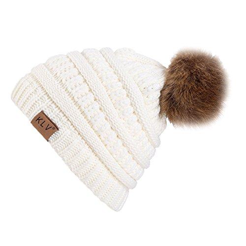 Bequemer Laden Damen Mütze Strickmütze Beanie Hüte Winter Bommelmütze mit Pelz Bommel Pompon - Weiß
