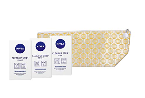 Nivea Clear-Up Strips, per la rimozione di Punti Neri e Impurità, 3 confezioni + Pochette da Viaggio