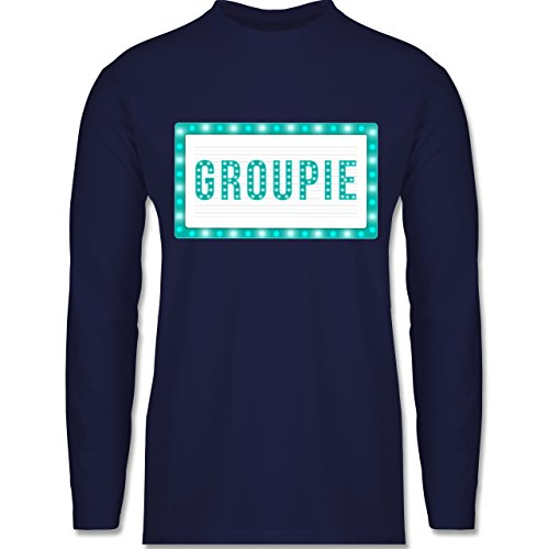 Shirtracer Rock'n'Roll - Groupie - Herren Langarmshirt Navy Blau