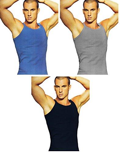 3 canotte uomo a costina navigare art. 530 colori assortiti (M, grigio chiaro/navy/jeans)