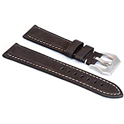 WatchAssassin Dark Waxy-Brown Leather Watch Strap 22 24mm