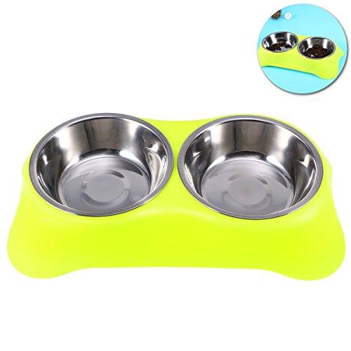 UEETEK Comedero para Perro Gato Mascota Tazón de Agua Alimentación Plato Alimentador Cuencos Doble (Color al Azar)