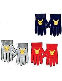 3 pares de guantes elasticos (3 colores distintos - Azul marino / Rojo / Gris -) diseño POKEMON (Nintendo) Talla unica 2-6 años + regalo de 12 ceras de colores PINCELLO