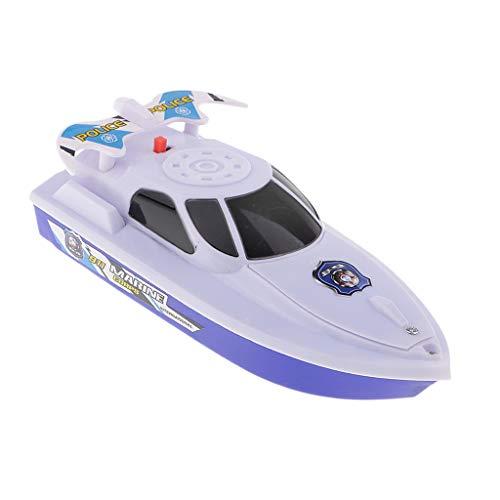 Fenteer Kinder Baby Wasserspielzeug Badespielzeug Batterie Boot Wasserboot Badeboot Spielzeug - Weiß