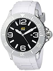 40Nine Mens 40NINE01/WHITE Extra Large 50mm Analog Display Japanese Quartz White Watch