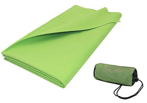 ZOLLNER® saugstarkes Mikrofaser-Badetuch / Duschtuch / Fitnesstuch / Sporthandtuch 90x180 cm apfelgrün,...