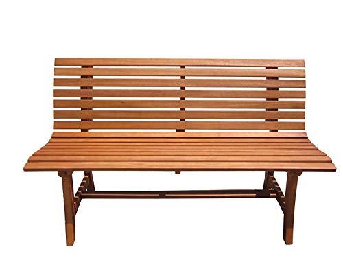 nxtbuy Parkbank Moreno in braun aus geöltem Eukalyptusholz - Massive Outdoor Sitzbank bis 240 kg mit wetterbeständiger Oberfläche - Braune Outdoor-bänke