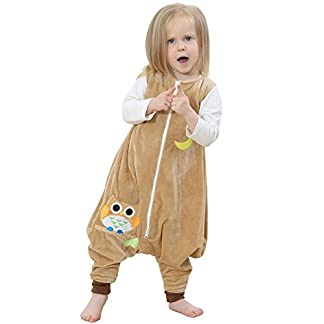 ZEEUAPI – Saco de Dormir con piernas de Franela para bebés niños infantíl Ropa para Dormir (S (1-3 años), Amarillo-Gato)