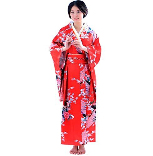 XZDCDJ Frauen Print Kimono Robe Traditionellen Japanischen Kleid Fotografie Cosplay Kostüm(Red) Free Nylon Armband