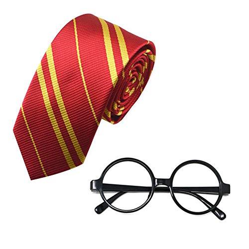 (Womdee Harry Wizard Seidenkrawatte und Neuheit Brillengestell, Schule Krawatten Kostümzubehör, Kostümparty, Kostüm, Tag des Buches - Passt Kinder Erwachsene)