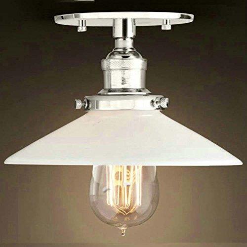 BAYCHEER Retro Vintage Deckenlampe Deckenleuchten Wohnzimmerlampen küchenlampen für LED Glühmlampe (Silber mit Glas Schirm) (Vintage Glas-deckenleuchte)