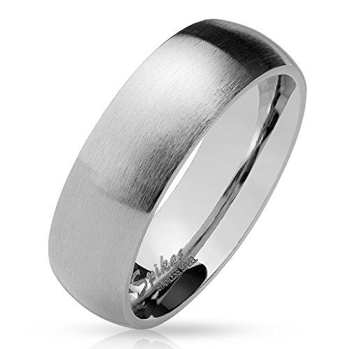 Paula & Fritz® silber matt poliert 8mm BREITE Edelstahlring Damen-ring Verlobungs-ring Freundschaftsring Herrenring Partnerring 61 (19.5)