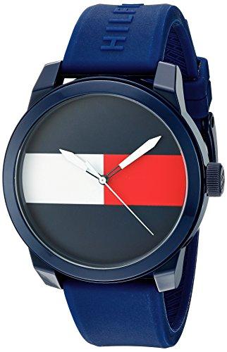 Tommy Hilfiger Men's 'Denim' Quartz Plastic and Rubber Casual Watch, Color:Blue (Model: 1791322)
