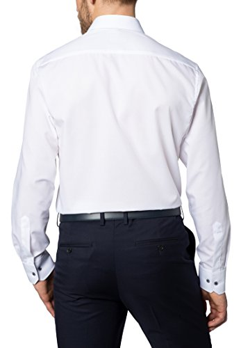 Eterna long sleeve Shirt MODERN FIT Fil à Fil uni Bianco