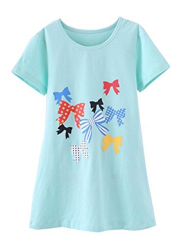 Baumwoll-print-nachthemd (ABClothing Mädchen Prinzessin Nachthemden Herz Print Nachthemden Baumwolle Nachtwäsche für 6-7 Jahre Dot Bow)