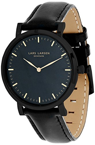 Lars Larsen 144CBBLL - Reloj de cuarzo con esfera analógica azul y correa de piel para mujer