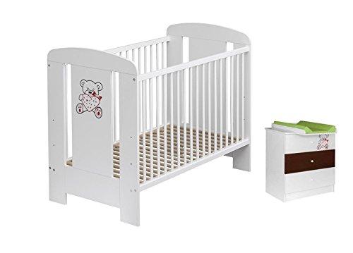 Best For Kids lettino + FASCIATOIO My Sweet Baby Baby Camera da letto con materasso in schiuma, certificato TÜV approvato, Lettino Baby letto bianco 4pezzi 120X 60