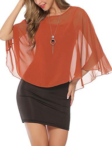 Abollria Damen Elegant Chiffon Bolero Festliche Cape Leichte Schulterjacke Fließende Bolerojacke zum Kleid (Orange Blazer Und)