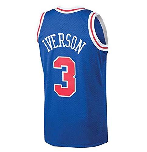 LLZYL NBA 3# Allen Iverson 76Ers All-Star-Spieler, Cooles, Atmungsaktives Gewebe, Klassisches, Ärmelloses T-Shirt-Trikot Für Herren Und Unisex-Basketball-Shorts
