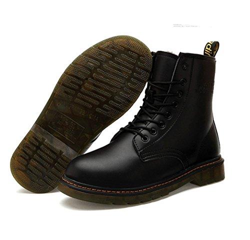 Martin de boots Western Chaude Pour Amoureux Adulte Mixte Rangers Canon Moyenne Chaussure de Coton Jeune Jeunesse Bottes compensé automne hiver homme femme Noir