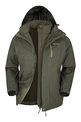 Mountain Warehouse Bracken Wasserfeste 3 in 1 Herren Winterjacke,mit Warmer Fleecejacke, Regenjacke, Herrenjacke, Funktionsjacke, Allwetterjacke, Doppeljacke, Frühling Khaki Large