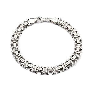 925 Silberarmband: Königsarmband flach Silber rhodiniert mit der Breite 8,5mm und auswählbare Länge 20cm und 22cm
