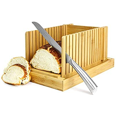 Bamboo Bread Slicer | Loaf Cutting Board & Knife Slicing Guide | Adjustable, Foldable, Compact | Suitable For Homemade or Bought Bread Cakes & Loaves | M&W