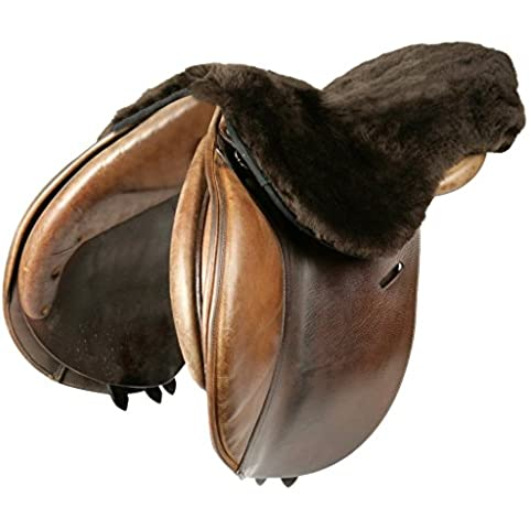 Le Mieux - Coprisella in pelle d'agnello, Marrone (Dark Brown Wool), Taglia unica