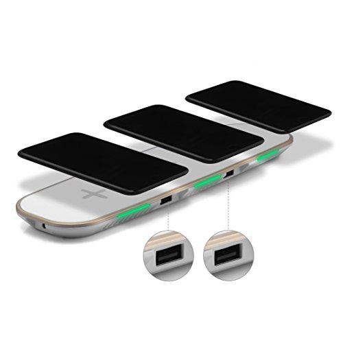 UGI Universal 3in1 Cargador de Escritorio de Carga inalámbrico rápido Cargador de Escritorio para iOS Phone X y 8 Plus Samsung S8 Note 8, S7, S7 Edge, S6, S6 Edge Plus, Note 5 Qi