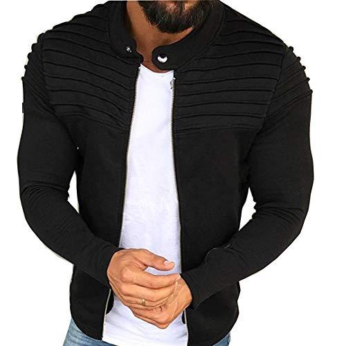 Morbuy Herren Jacke Jogging Sweatshirts Herbst Winter Pullover Trainingsanzug Reißverschluss Sport Langarm Strickjacken (XXL, Schwarz)