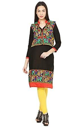 Vastraa Fusion Black Cotton Kurti with Embroidered Multicolored Jacket - Medium