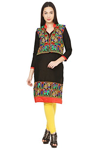 Vastraa Fusion Black Cotton Kurti with Embroidered Multicolored Jacket - Large