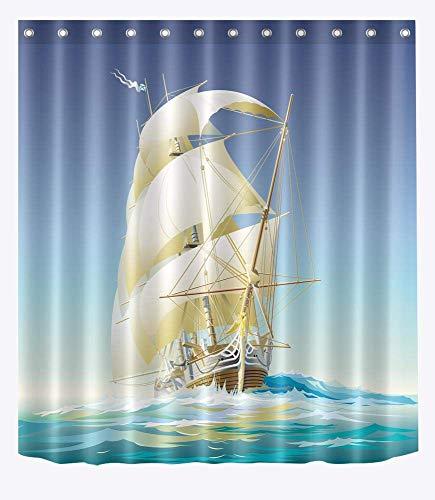ZHOU Costa, Playa, Concha, Estrella de mar, patrón Cortina de ducha para EL baño, 150W x180H (60 W x72H inch), impermeable, Tela de poliéster, baño ducha Cortina decoración Con gancho